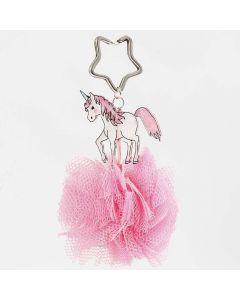 A Unicorn Keyring Fob with a Tulle Pom-Pom