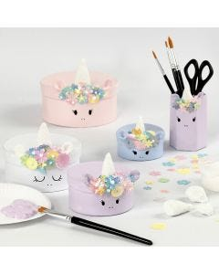 Unicorn Papier-mâché Boxes with  Foam Clay Decoration