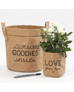 Decoration on a Faux Leather Paper Storage Bag