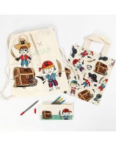 A Pirate Pencil Case, Shopping Bag and Drawstring Bag decorated with Textile Markers