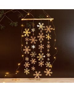 A hanging Decoration with Faux Leather Paper Snowflakes