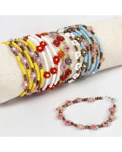 A Bracelet with Flowers made from Rocaille Seed Beads