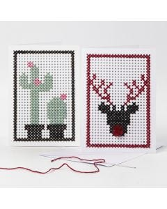 Embroidered Greeting Cards with a Cactus and a Reindeer