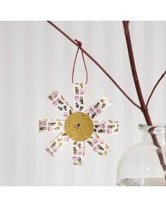 A hanging Decoration from Paper Star Strips and Glitter Paper
