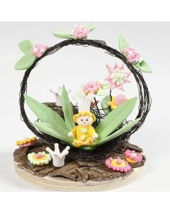 A Miniature World with a Fairy and Flowers