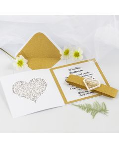 A Wedding Invitation with glitter Gold Design Paper and a heart-shaped Shaker Sticker