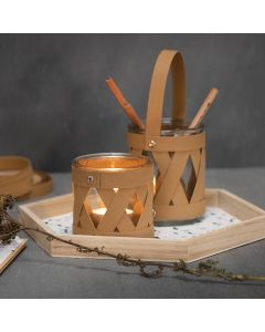A Candle Holder and a Storage Jar decorated with Faux Leather Paper Weaving Strips