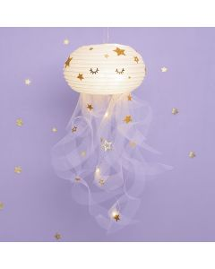 A Jellyfish from a Rice Paper Lamp and Tulle decorated with Stickers
