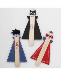Super Heroes from long wooden Ice Lolly Sticks