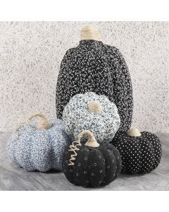 Papier-mâche Pumpkins decorated with Fabric Decoupage