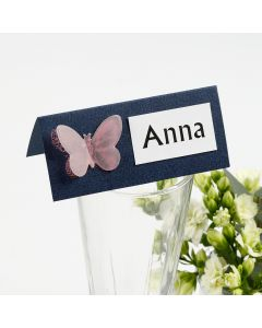 A Place Card with a punched-out Vellum Paper Butterfly