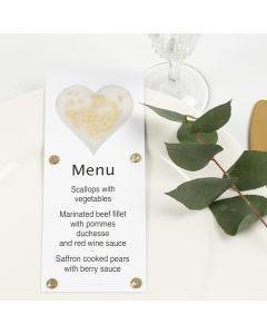 A Menu Card decorated with a Vellum Paper Heart, Glitter and Rhinestones