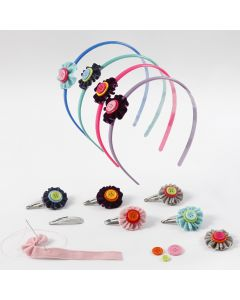 Hair Accessories with Flowers made from Velvet Ribbon and Buttons