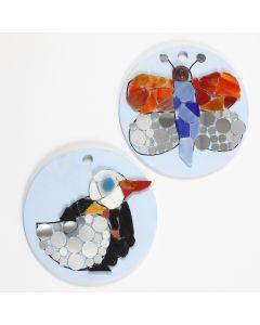 Mosaics Designs on round Terracotta Plates