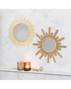 A mirror decorated like the sun using wood veneer