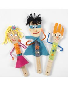 Puppets for puppet theatre made from bamboo kitchen utensils