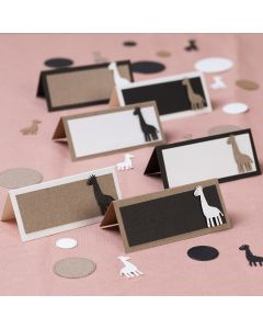 Place cards with punched-out giraffes