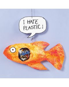 A gauze bandage fish with plastic in its tummy