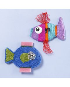Fish made from yarn and plastic waste