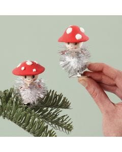 Toadstools with a glitter pom-pom body