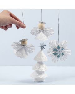 Christmas decorations made from doilies