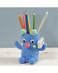 A teddy pencil holder from Foam Clay Large on a cardboard tube