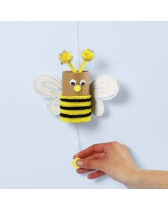 A bee from a cardboard tube