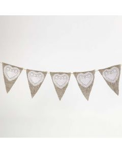 Bunting made from Linen Fabric and Paper Doilies