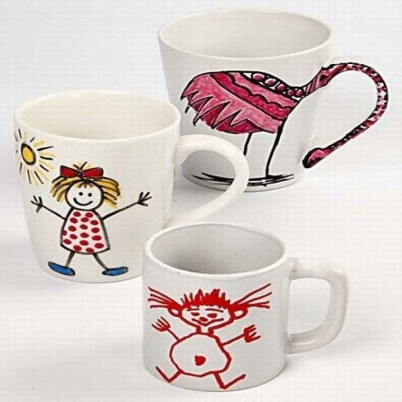 Porcelain Mugs decorated with  Markers