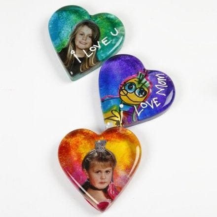 A Glass Heart decorated with an Image and Glass Paint