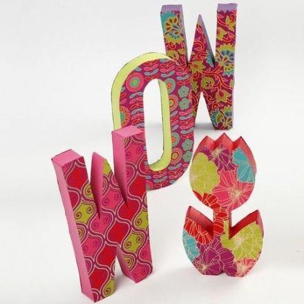 Papier-Mâché letters with Handmade Paper