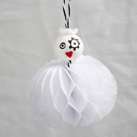 An Angel with a Skirt made from Concertina Paper