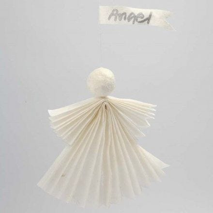 An Angel made from Straw Silk Paper with a Streamer