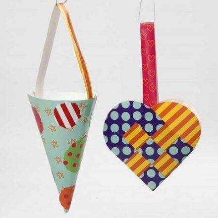 A Woven Heart Basket and a Cone made from Glazed Paper