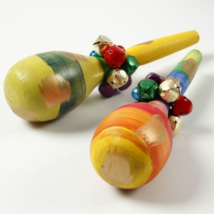 Painted Wooden Maracas decorated with Bells