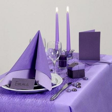 Party Inspiration with purple Table Decorations etc.