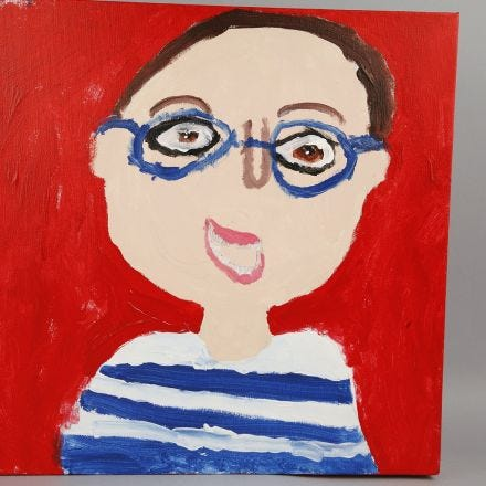 A painted Self-Portrait on a Canvas