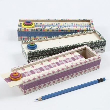A Pencil Case with Masking Tape and wooden Buttons