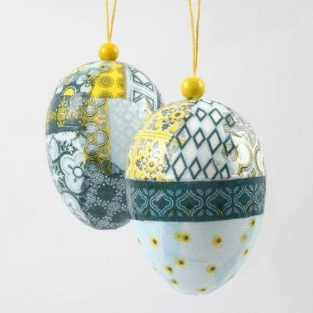 Eggs with Decoupage for hanging with a wooden Bead
