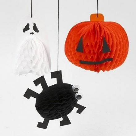 Hanging Decorations for Halloween with Honeycomb Paper