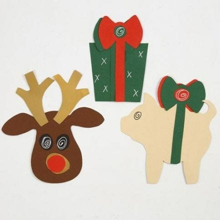 Christmas Decorations made from Card from a Template