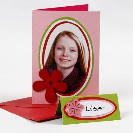 A Greeting Card with a Portrait Photo on coloured Card Ovals