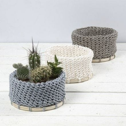 A knitted Basket made from Paper Yarn