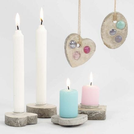 Candle Holders and hanging Decorations from cast Concrete