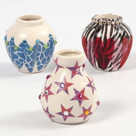 A Terracotta Vase, decorated with Decoupage and Rhinestones