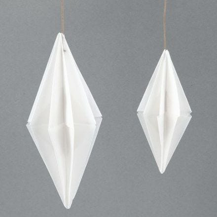 A rectangular Paper Diamond made from Vivi Gade Vellum Paper