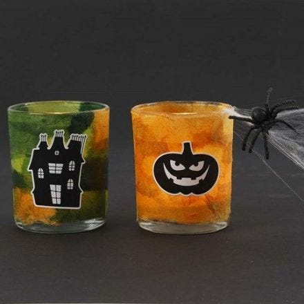 Halloween Tea Light Candle Holders with Straw Silk Paper