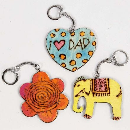 Keyring Fobs with branded and coloured-in Patterns