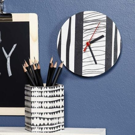 A Wall Clock and a Pencil Holder decorated with Decoupage Paper