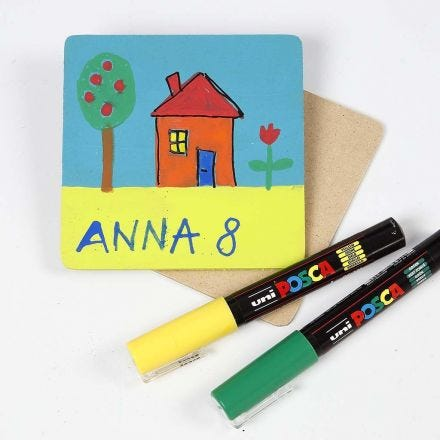 A Drawing with Uni Posca Markers on a painted Coaster